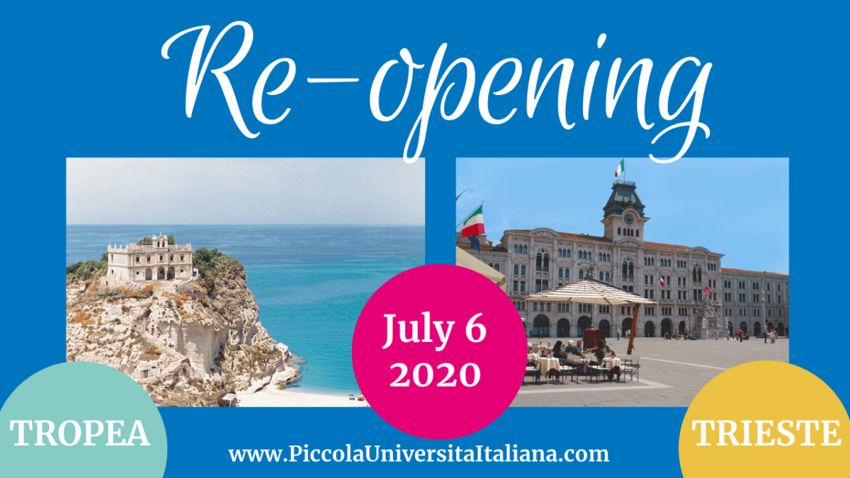 RE-OPENING OF OUR LANGUAGE SCHOOLS IN ITALY